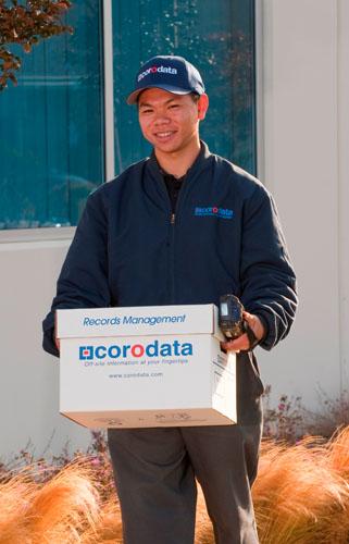 Corodata Employee with Records Storage Box